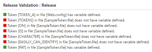 VSTS Token Comparer Summary
